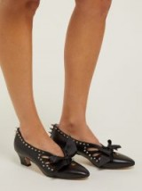 GUCCI Berith spike-embellished black leather pumps ~ spikes and bows
