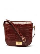 SAINT LAURENT Betty crocodile-effect brown leather satchel