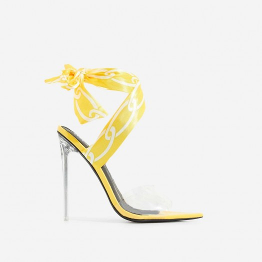 EGO Bibi Printed Ribbon Lace Up Perspex Heel In Yellow Patent – ANKLE WRAP HEELS