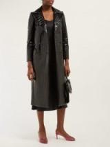 BLAZÉ MILANO Black Caviar crocodile-effect double-breasted coat ~ high shine faux leather coats