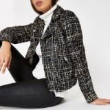 RIVER ISLAND Black check print biker jacket – front zip jackets