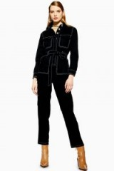TOPSHOP Black Denim Boiler Suit ~ tie waist boilersuit
