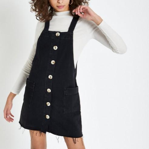River Island Black denim dungaree dress | frayed hemline dresses