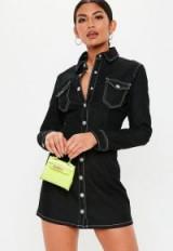 Missguided black denim fitted long sleeve dress | shirt dresses