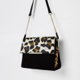 River Island Black leather leopard print under arm bag | animal print bags