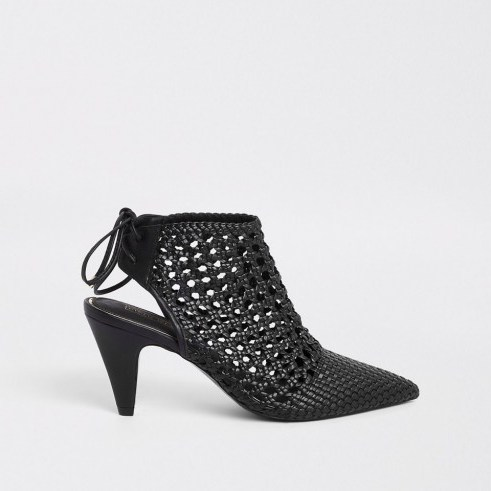 RIVER ISLAND Black leather woven pointed toe boot – open back shoe-boots - flipped