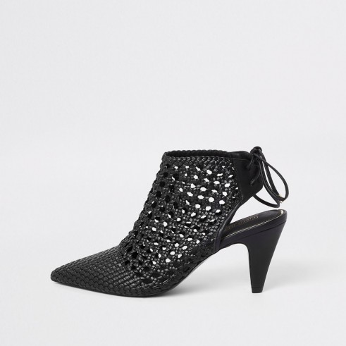 RIVER ISLAND Black leather woven pointed toe boot – open back shoe-boots