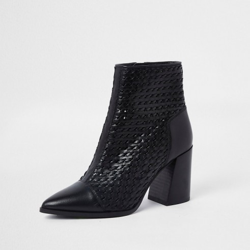 RIVER ISLAND Black leather woven pointed toe boot – block heeled boots