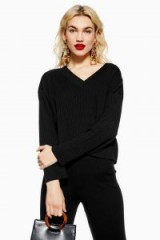 Topshop Black Ribbed Jumper and Trousers Set | winter co-ord fashion