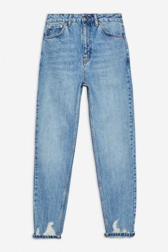 Topshop Bleach Ripped Hem Mom Jeans | distressed denim
