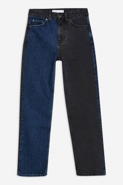 Topshop Blue Black Colour Block Jeans | multicoloured denim