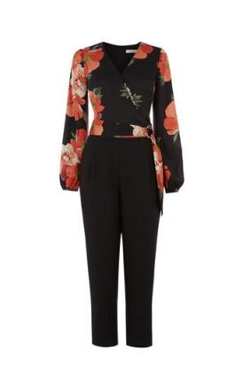 OASIS BOLD BLOOM D RING JUMPSUIT Black Multi / floral jumpsuits