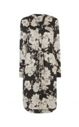 OASIS BOLD BLOOM MIDI SHIRT DRESS MULTI BLACK / floral waist tie dresses