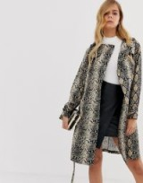 Boohoo belted midi trench coat in snake / animal prints