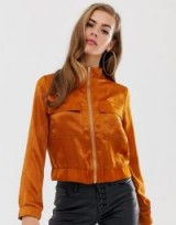 Boohoo satin pocket front jacket in rust ~ silky funnel neck jackets