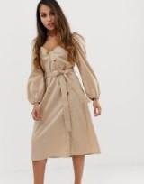 Booohoo Petite asymmetric button through midi dress with gathered puff sleeve in stone | tie waist dresses | puffed sleeves