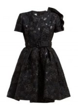 PRADA Bouquet-brocade flared mini dress in black ~ metallic fit and flare