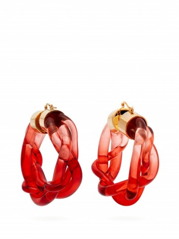 MARNI Braided-perspex hoop earrings in red ~ large ombre hoops