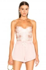 BROCK COLLECTION Check Bustier Top in Light Pastel Pink