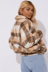 IN THE STYLE BRONTE BROWN CHECK TEDDY FUR BOMBER COAT – FLUFFY WINTER JACKET