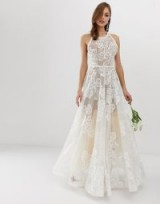 Bronx & Banco Fiora embellished bridal gown white – sheer floral wedding dress