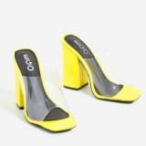 EGO Brooke Block Heel Perspex Peep Toe Mule In Yellow Patent – CHUNKY HEELS / SQUARE TOES