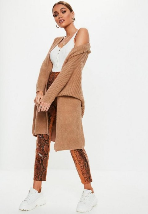MISSGUIDED brown batwing long knitted cardigan ~ longline oversized cardi