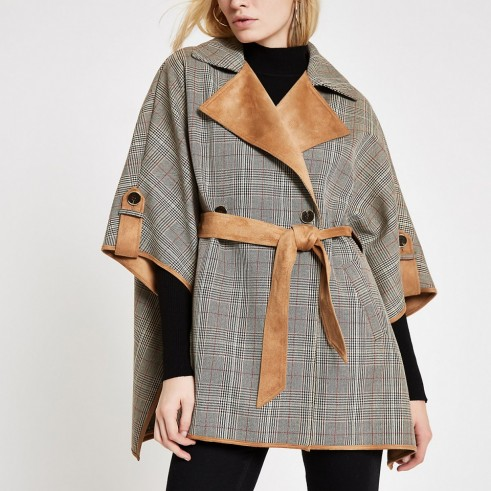 RIVER ISLAND Brown check robe cape jacket – capes / tie waist jackets