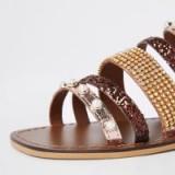RIVER ISLAND Brown leather multi strap embellished sandal ~ flat strappy sandals