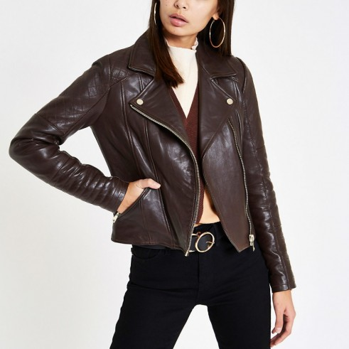RIVER ISLAND Brown leather quilted biker jacket ~ zipped jackets