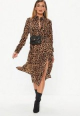 MISSGUIDED brown leopard midi shirt dress ~ glamorous day wear