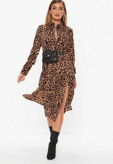 MISSGUIDED brown leopard midi shirt dress ~ glamorous day wear