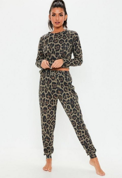 MISSGUIDED brown leopard print brushed lounge set ~ animal prints
