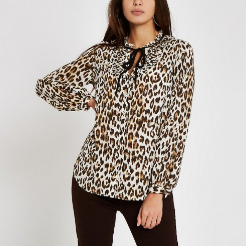 River Island Brown leopard print tie neck blouse ~ animal prints