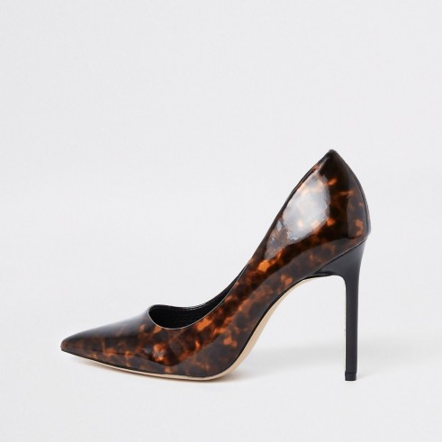 RIVER ISLAND Brown printed pointed toe court shoes ~ stiletto heel courts