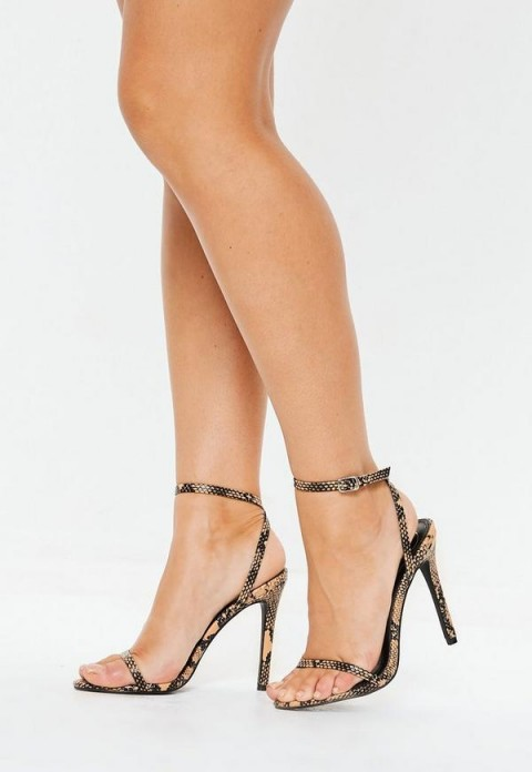 MISSGUIDED brown snake pointed toe barely there heels ~ reptile printed sandals