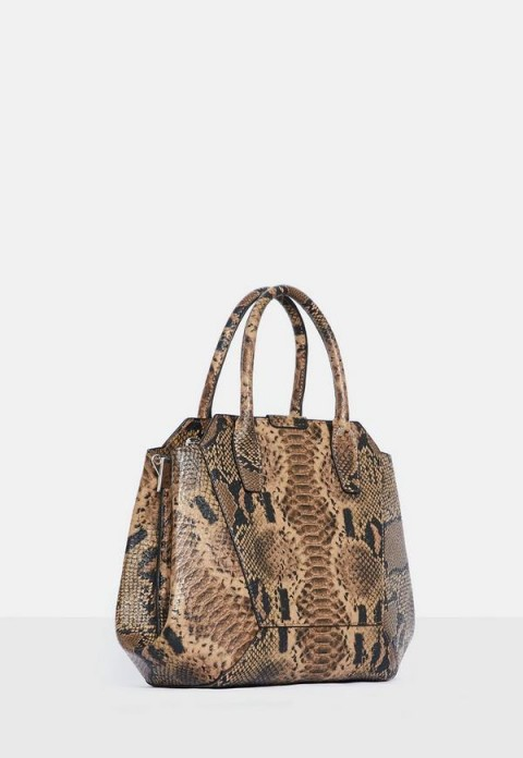 MISSGUIDED brown snake print bag ~ reptile prints