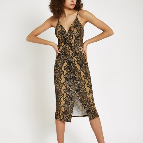 RIVER ISLAND Brown snake print twist front midi dress – strappy dresses