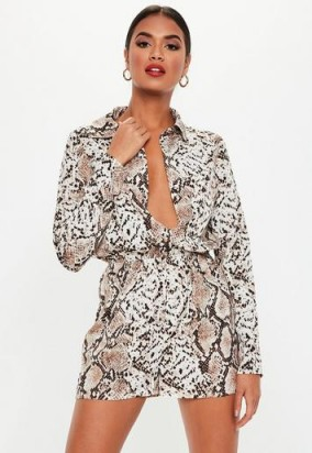 MISSGUIDED brown snakeprint long sleeve utility playsuit ~ snake print fashion