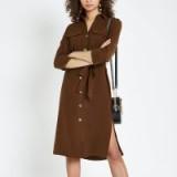 RIVER ISLAND Brown tie waist shirt dress – casual style