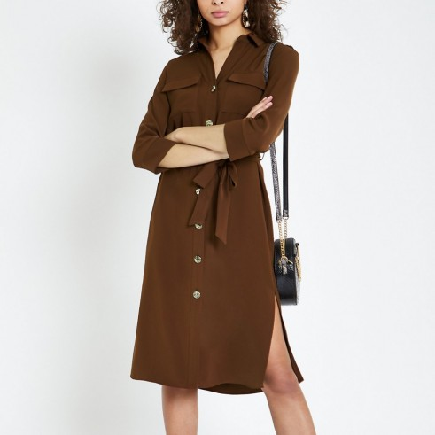 RIVER ISLAND Brown tie waist shirt dress – casual style