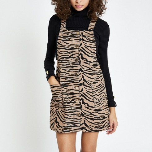 RIVER ISLAND Brown zebra print dungaree dress – animal prints