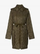 Burberry Quilted Hooded Oversized Pocket Coat in green ~ casual and stylish