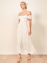 Reformation Butterfly Dress in Ivory | low off the shoulder dresses | summer wedding