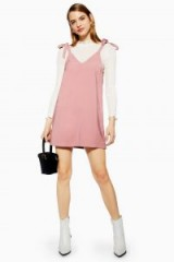 Topshop Button Mini Slip Dress in Pink | casual cami frock