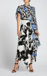 ROLAND MOURET CALHERN DRESS in mixed mono painterly / large floral paint prints