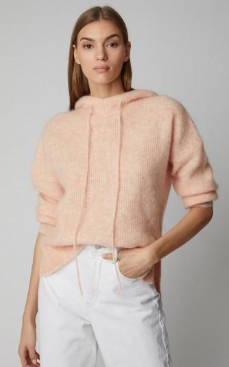 Ganni Callahan Ribbed Wool-Blend Hoodie in Pink | luxe knitwear