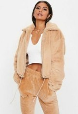 MISSGUIDED camel faux fur bomber jacket ~ fluffy light-brown jackets