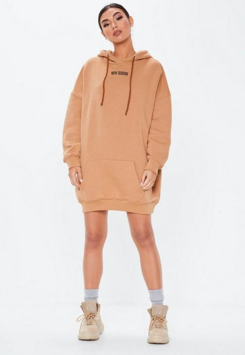 MISSGUIDED camel new season oversized hoodie dress ~ light brown sweat dresses