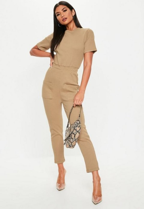 MISSGUIDED camel ribbed pocket jumpsuit ~ casual light-brown jumpsuits